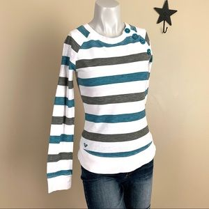 ROXY Teal & Military Green Striped Long Sleeve Top
